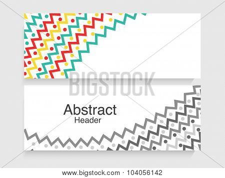 Colorful creative abstract design decorated website header or banner set.