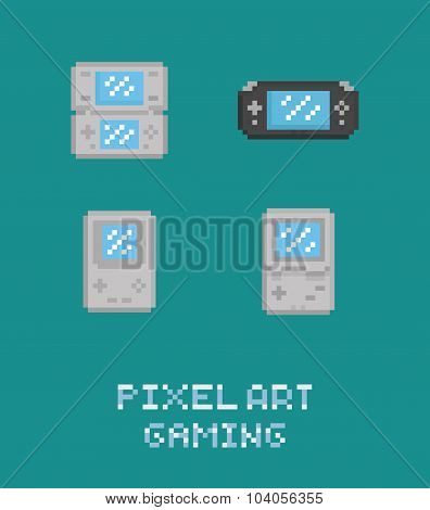 Pixel art vector illustraion retro video game portable console icon set