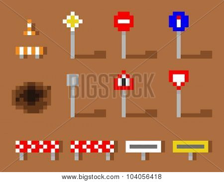 Pixel Art Vector Road Sign Icon set brown road