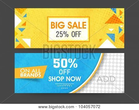 Big Sale with special discount offer, Creative abstract website header or banner set with space to add image.