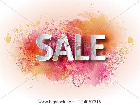 Watercolor poster sale. Bright watercolor background, percent, d
