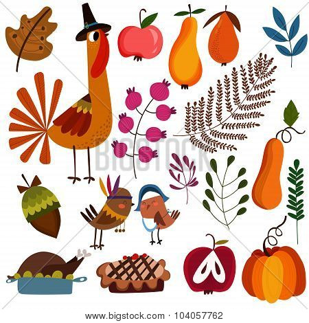 Lovely Colorful Design Elements For Thanksgiving. Autumn Set With Turkey, Pie, Apple, Pear, Pumpkin,