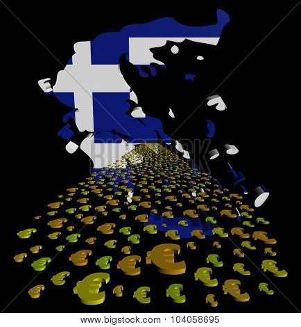 Greece map flag with euros foreground illustration