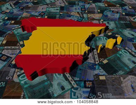 Spain Map flag on Euros illustration