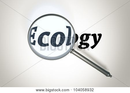 An image of a magnifying glass and the word ecology
