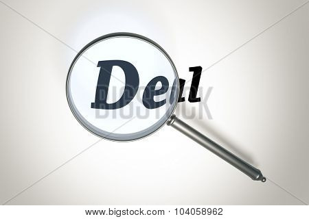 An image of a magnifying glass and the word deal