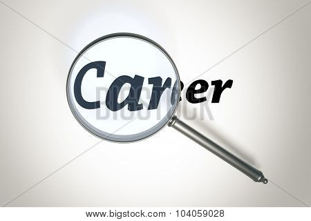 An image of a magnifying glass and the word career