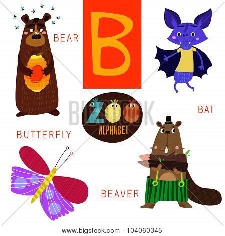Cute Zoo Alphabet In Vector.b Letter. Funny Cartoon Animals: Bear,bat,butterfly,beaver. Alphabet Des