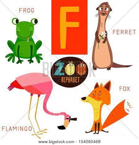 Cute Zoo Alphabet In Vector.f Letter. Funny Cartoon Animals: Frog,ferret,flamingo,fox . Alphabet Des