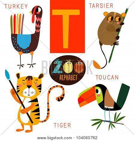 Cute Zoo Alphabet In Vector.t Letter. Funny Cartoon Animals:turkey, Tarsier,tiger,toucan. Alphabet D