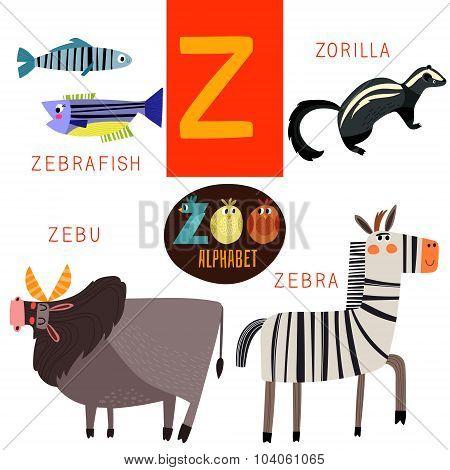 Cute Zoo Alphabet In Vector.z Letter. Funny Cartoon Animals:zebrafish,zorilla,zebu,zebra. Alphabet D