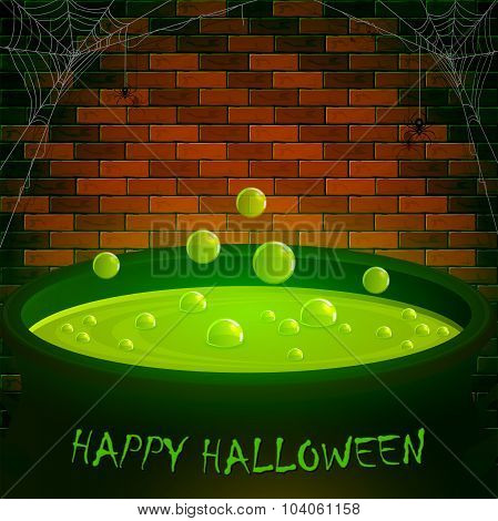 Brick Wall With Spiders And Halloween Cauldron