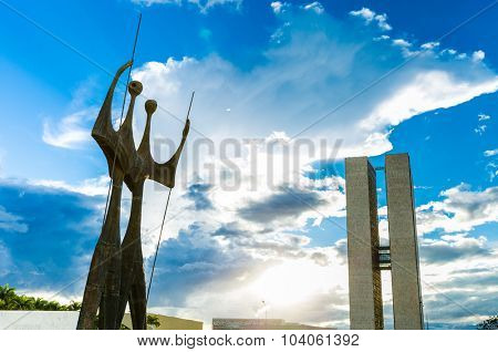 BRASILIA, BRAZIL - CIRCA MARCH 2015: Two Candangos in Brasilia, Brazil