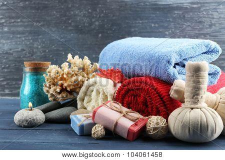 Spa treatments on blue background. Sea spa concept