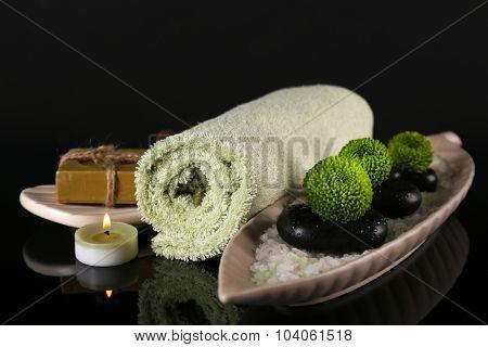 Set for spa procedures on black background