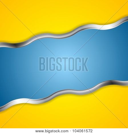 Yellow blue contrast background with metal waves