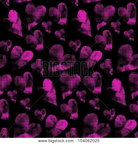 Seamless heart background in pink and black colors.