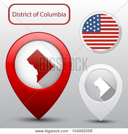District Of Columbia State With Flag America And Map Pointer