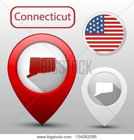 Set Of Connecticut State With Flag Of America And Map Pointer