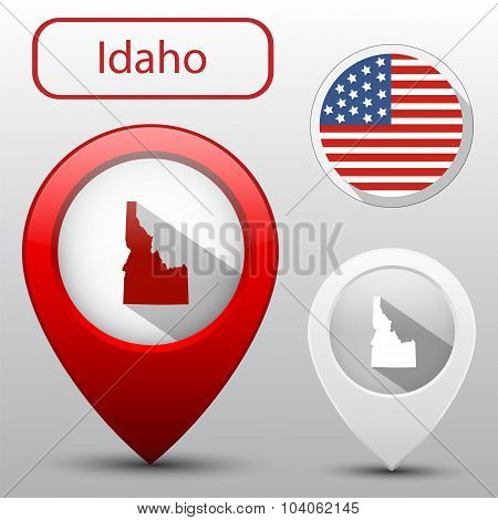 Set Of Idaho State With Flag America And Map Pointer