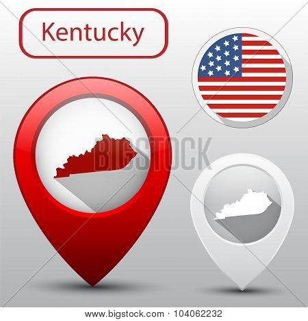 Set Of Kentucky State With Flag America And Map Pointer