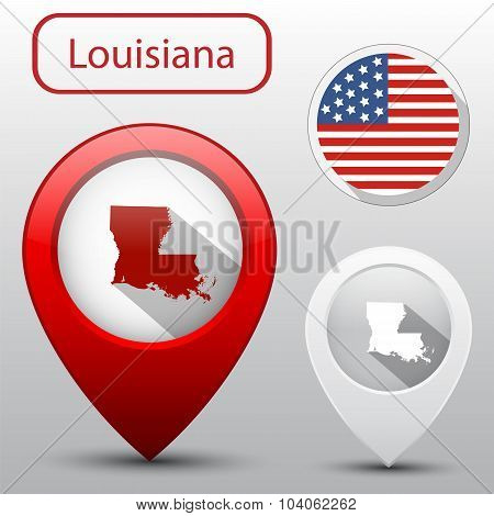 Set Of Louisiana State With Flag America And Map Pointer