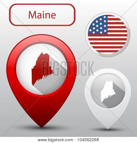 Set Of Maine State With Flag America And Map Pointer