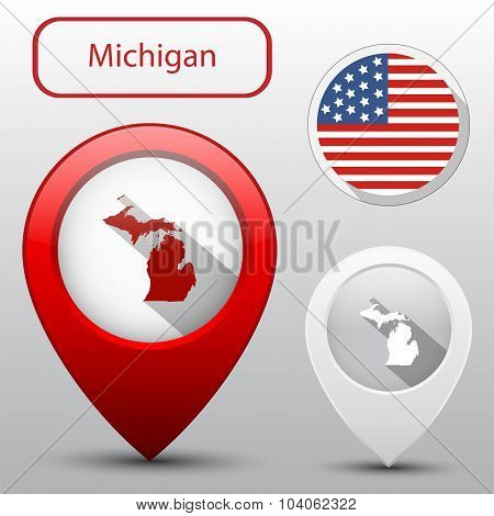 Set Of Michigan State With Flag America And Map Pointer
