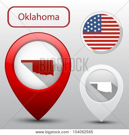 Set Of Oklahoma State With Flag America And Map Pointer