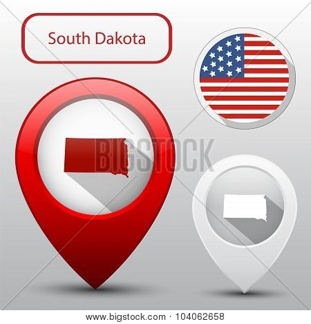 Set Of South Dakota State With Flag America And Map Pointer
