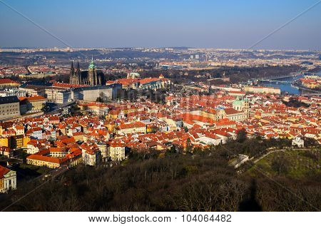 panoramic view on Prague castle and old town from above, Czech Republic