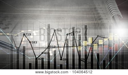 Background business image with graphs and diagrams