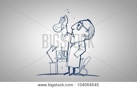 Drawing cartoon of scientist working with tubes in lab