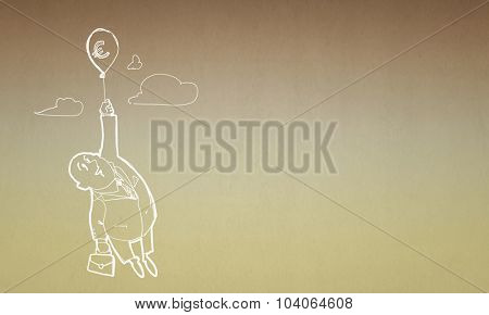 Caricature of businessman flying on balloon with euro sign