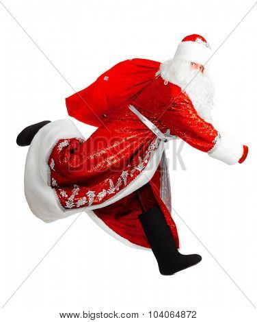 santa claus is running, isolated on white