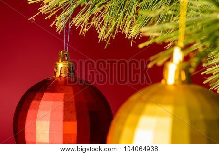 two balls on christmas tree
