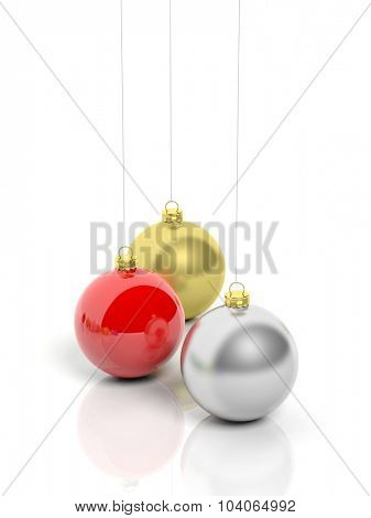 Red, silver and golden Christmas balls, isolated on white background.