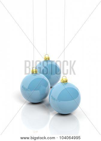 Blue Christmas balls, isolated on white background.