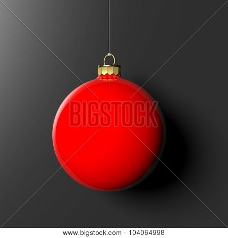 Red Christmas ball, isolated on black background.