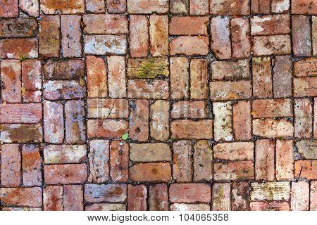 Floor With Old  Red Brick Stones