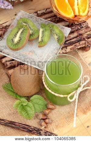 Kiwi Fruit Juicy Green And Kiwi Juice Delicious.