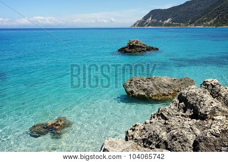 Clean water of Agios Nikitas Beach, Lefkada, Ionian Islands