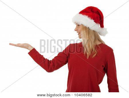 Christmas Girl Holding Hand Palm Up