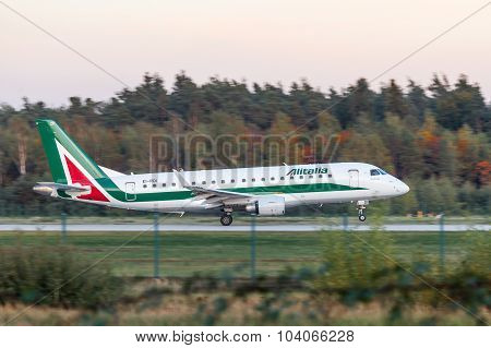 Alitalia Embraer 170 At The Frankfurt Airport