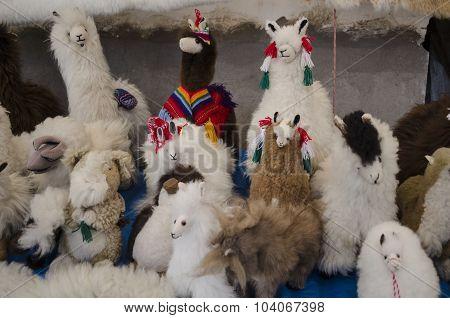 Llamas. Peruvian handicraft