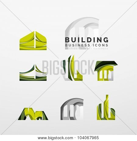Set of real estate or building logo business icons. Created with overlapping colorful abstract waves and swirl shapes