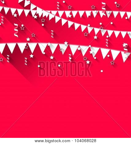 Cute background with hanging pennants for carnival party in tren