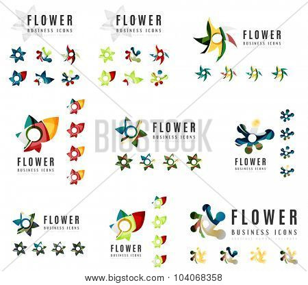 Set of company logotype branding designs, flower blooming concept icons isolated on white