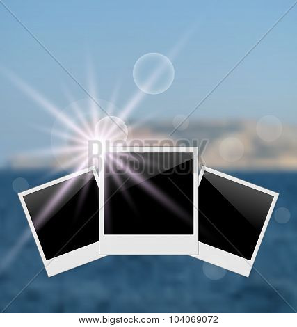 Set photo frame on blurred seascape background