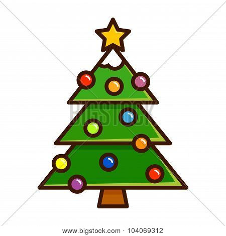 Christmas Tree With Ornaments In Simple Vector Art